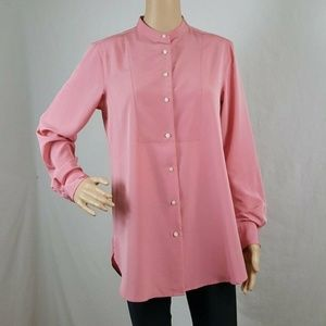 Womens Blouse Petite PM Coral? Long Sleeve Hi-Lo